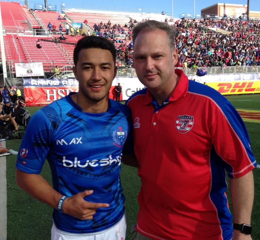 Kevin Earle with Rugby player